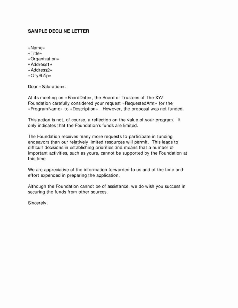 Decline to Bid Letter Fresh 10 Declining A Job Offer Sample Letter