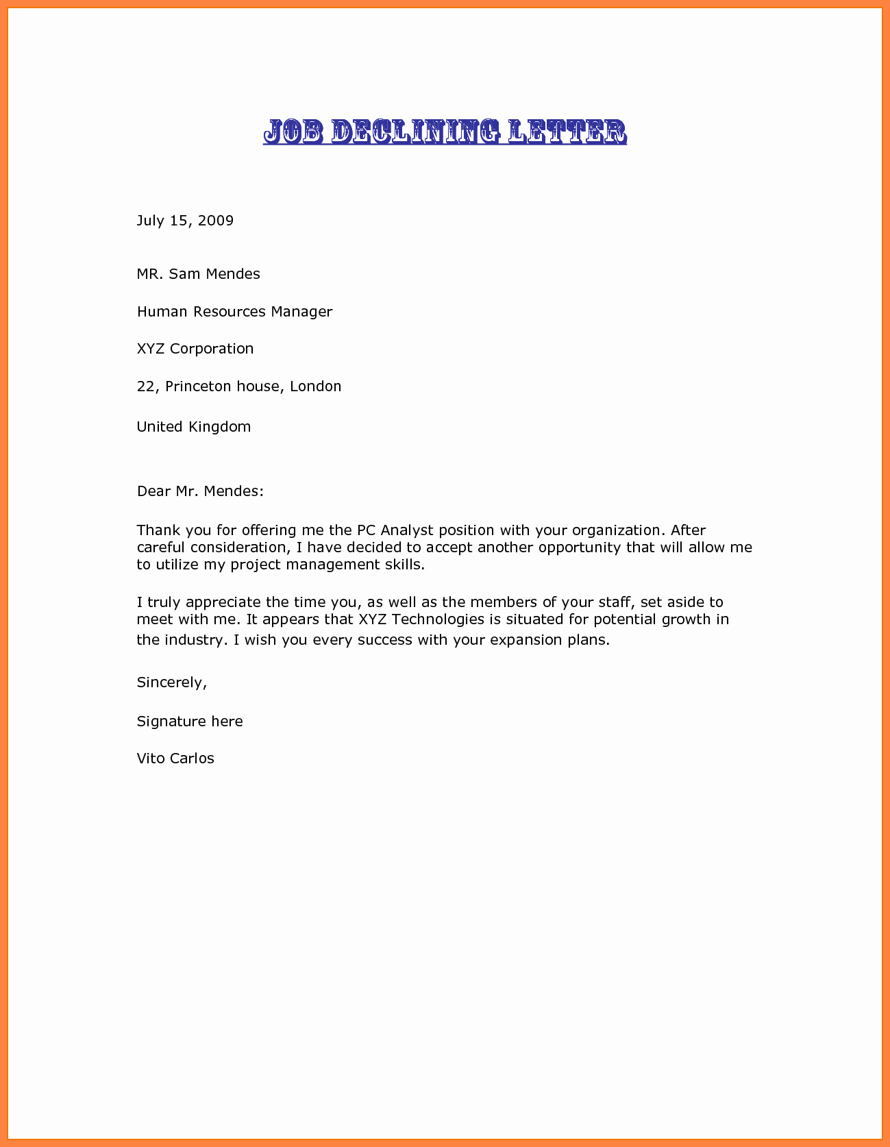 Decline to Bid Letter Fresh 3 Decline A Job Offer