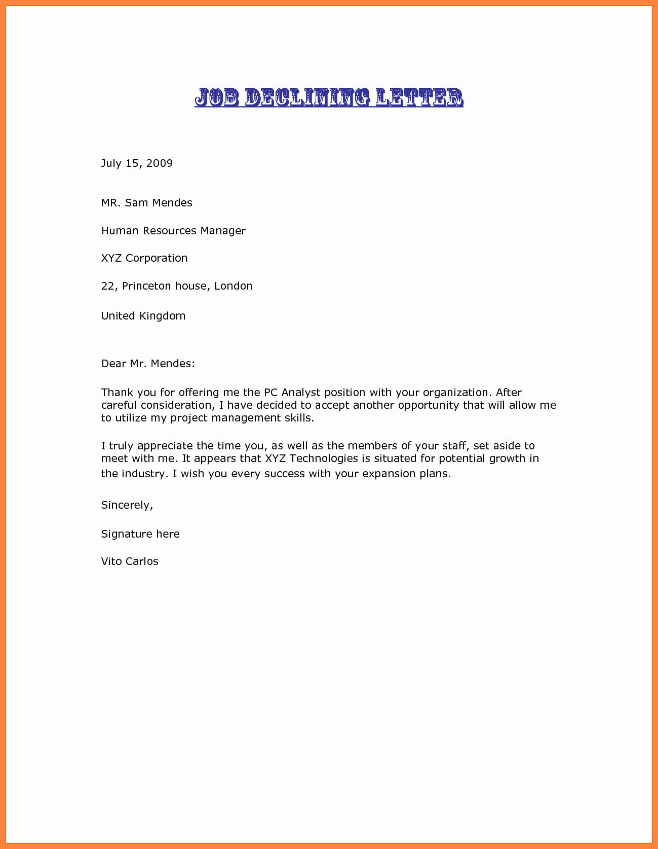Decline to Bid Letter Fresh 3 Decline A Job Offer