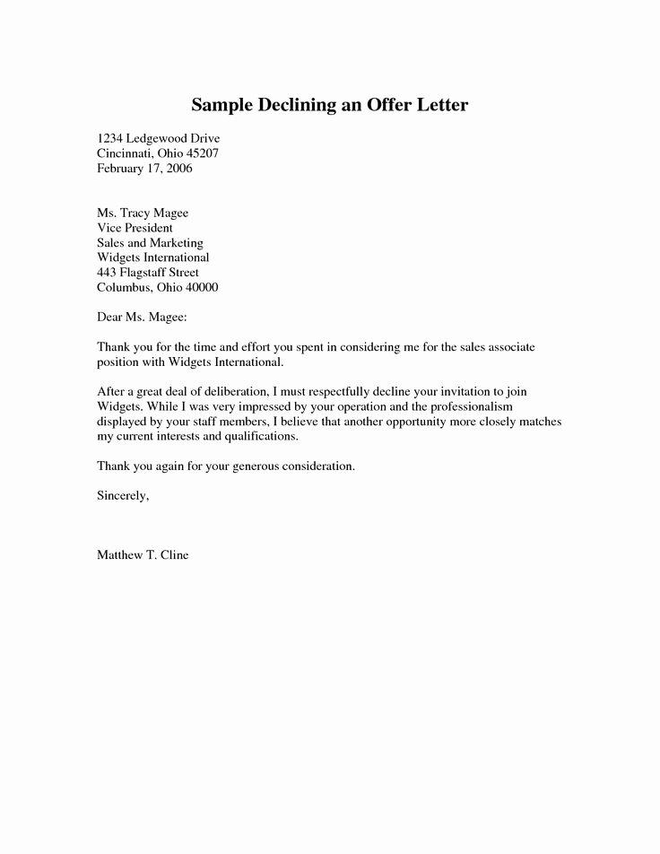 Decline to Bid Letter Inspirational Sample Declining An Fer Letter Pdf Cover Latter Sample Pinterest