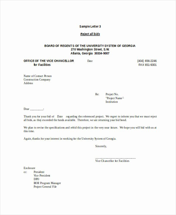 Decline to Bid Letter New 7 Bid Rejection Letters Free Sample Example format Download