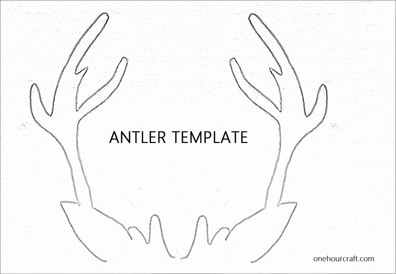 Deer Antler Printable Template Elegant Antler Template for Christmas Card at Onehourcraft