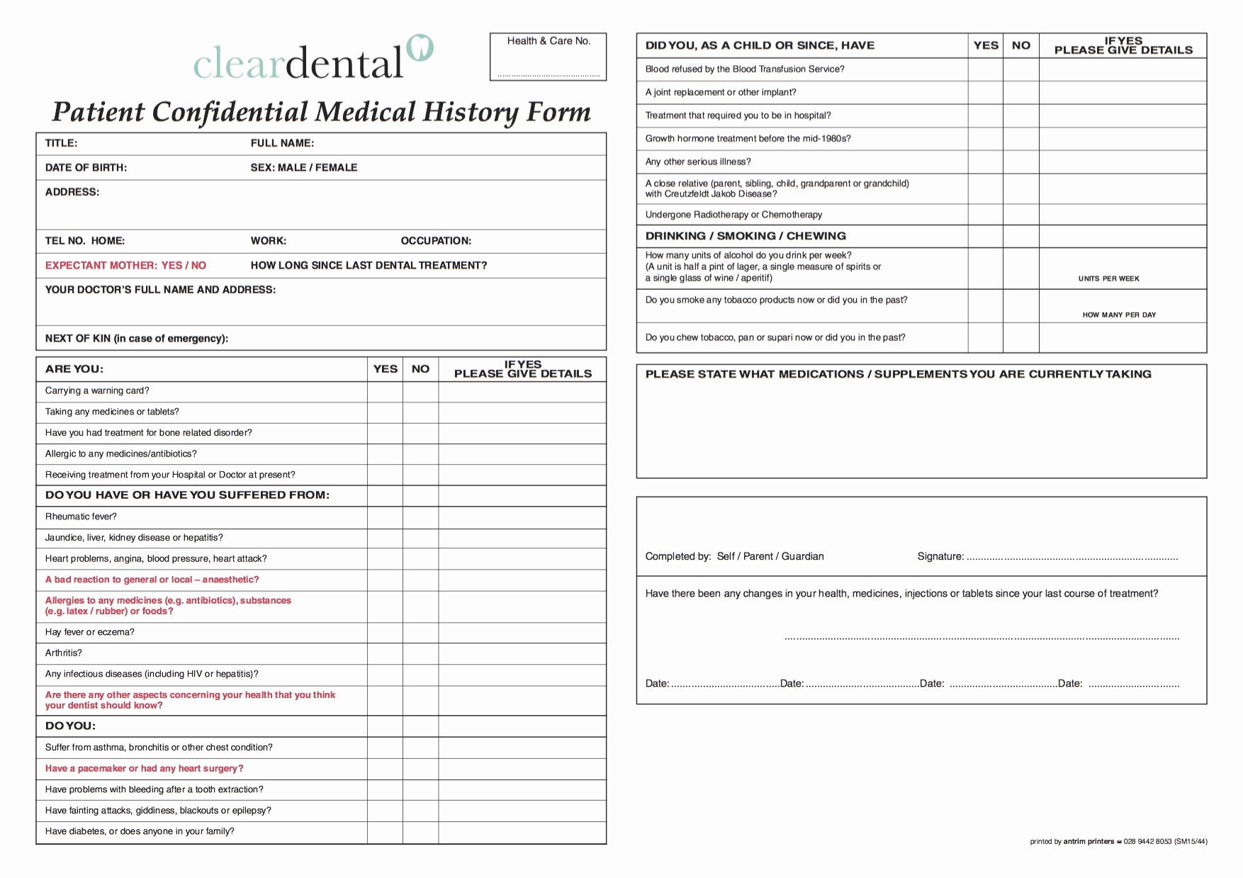Dental Medical History form Template Lovely Medical History form Clear Dental
