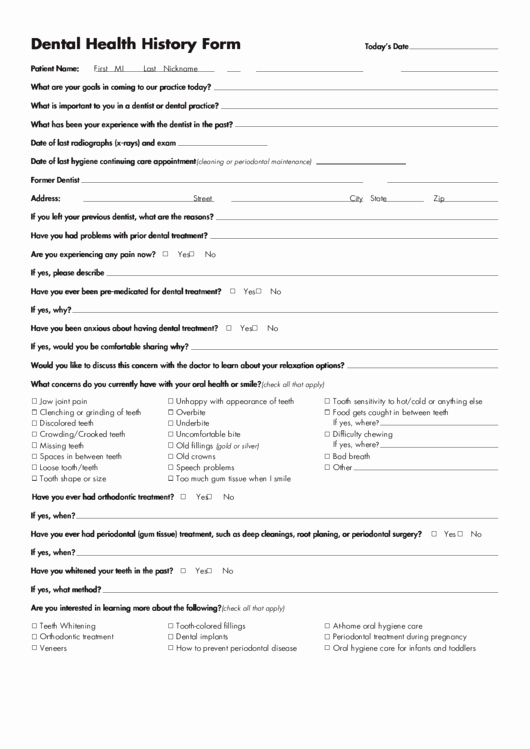 Dental Medical History form Template Luxury Dental Health History form Printable Pdf