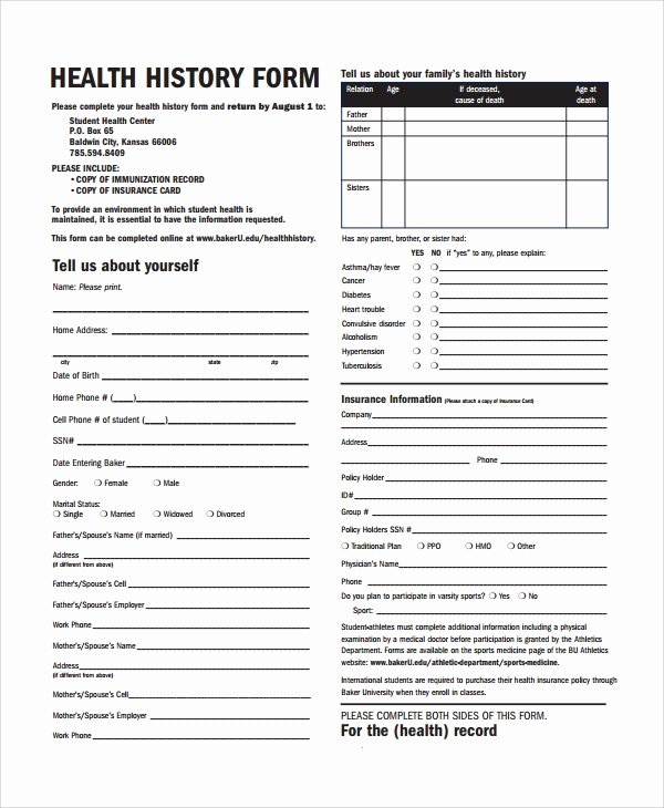 Dental Medical History form Template Luxury Sample Health History Template 9 Free Documents