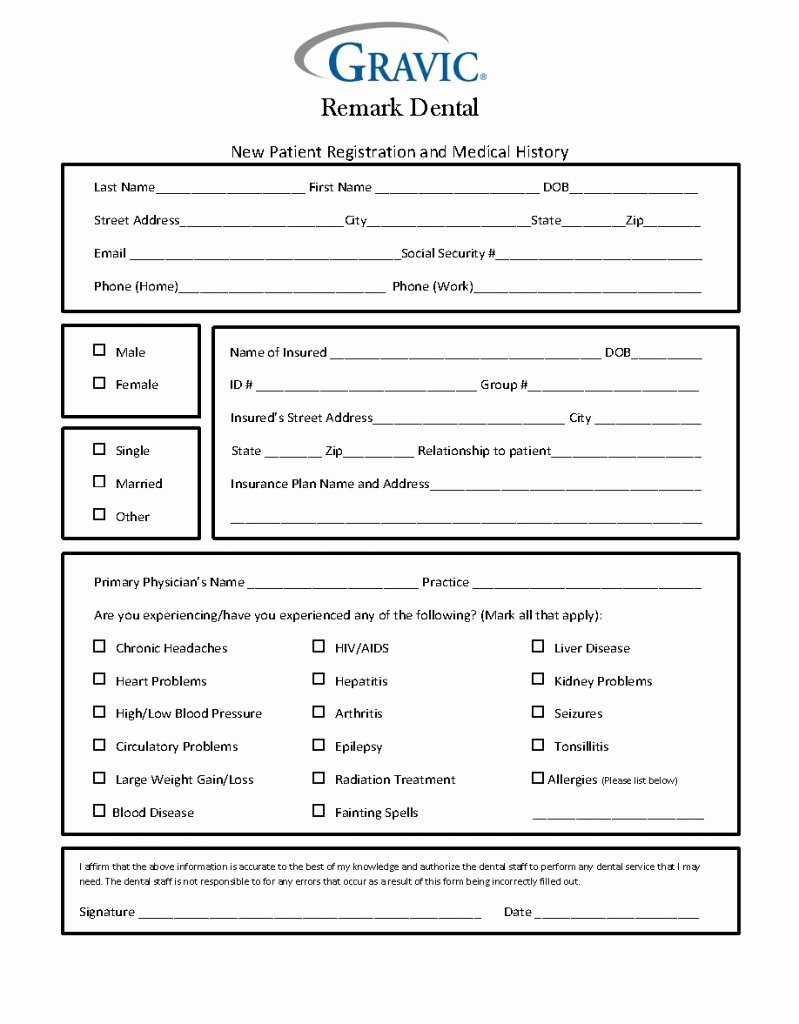 Dental Medical History form Template Unique Dental Patient History form · Remark software