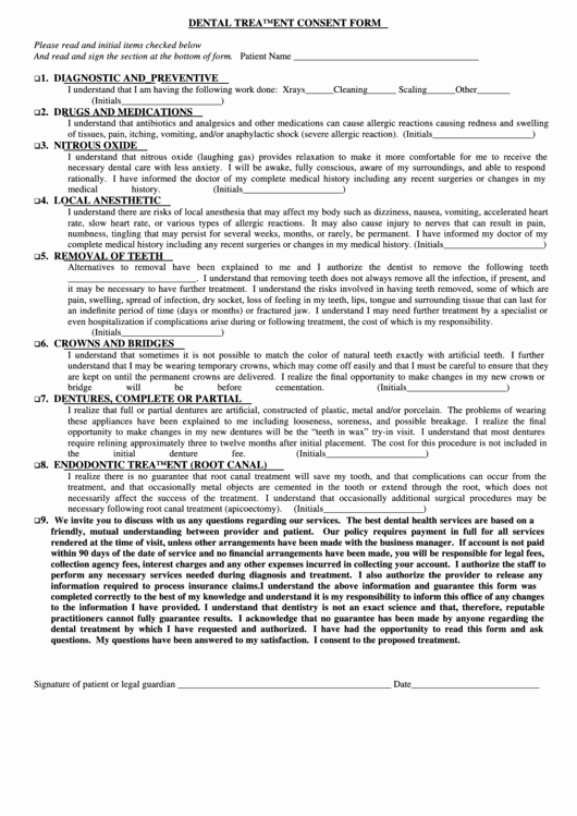 Dental Treatment Plan Template New Dental Treatment Consent form Printable Pdf