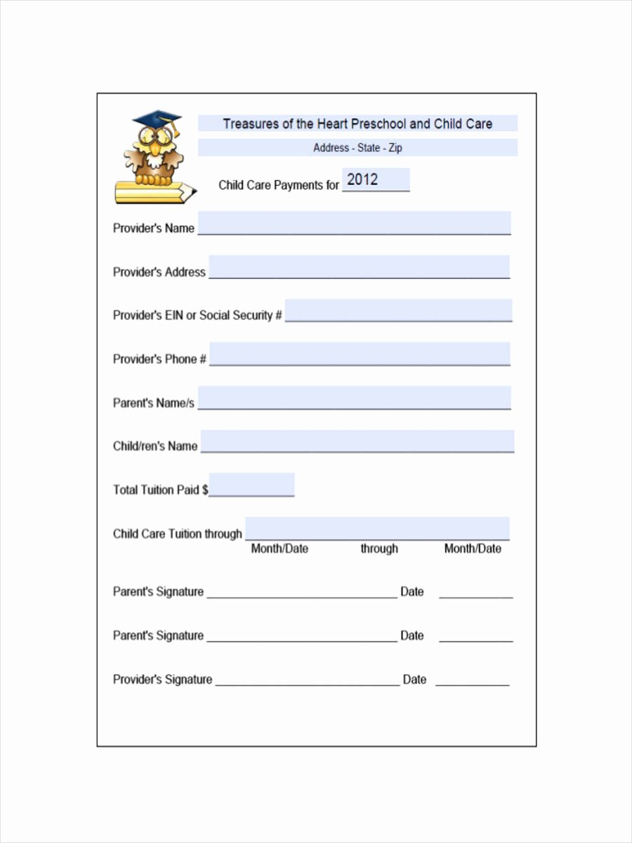 Dependent Care Receipt Template Beautiful Free 9 Daycare Receipt Examples & Samples In Pdf