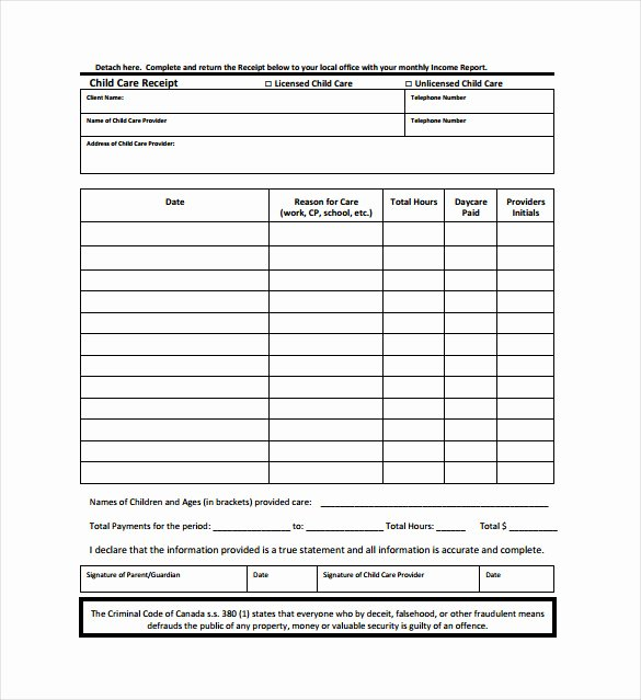 Dependent Care Receipt Template Best Of Child Care Invoice Template