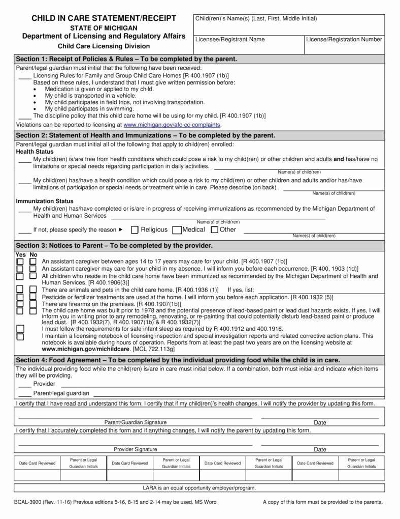 Dependent Care Receipt Template Elegant 7 Child Care Receipt Templates Pdf