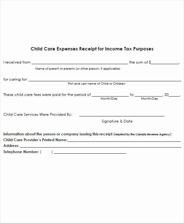Dependent Care Receipt Template Inspirational 7 Expense Receipt Template Examples In Word Pdf