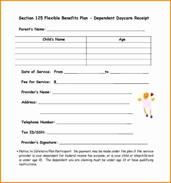 Dependent Care Receipt Template New 5 Dependent Care Receipt Template