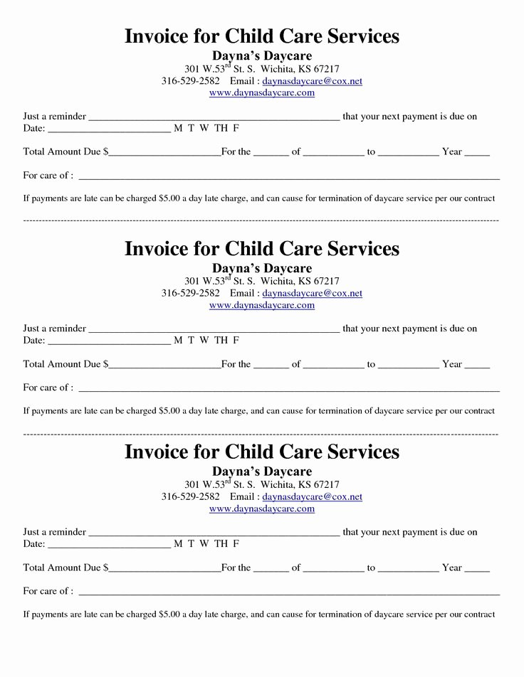 Dependent Care Receipt Template Unique Child Care Receipt Invoice Daycare
