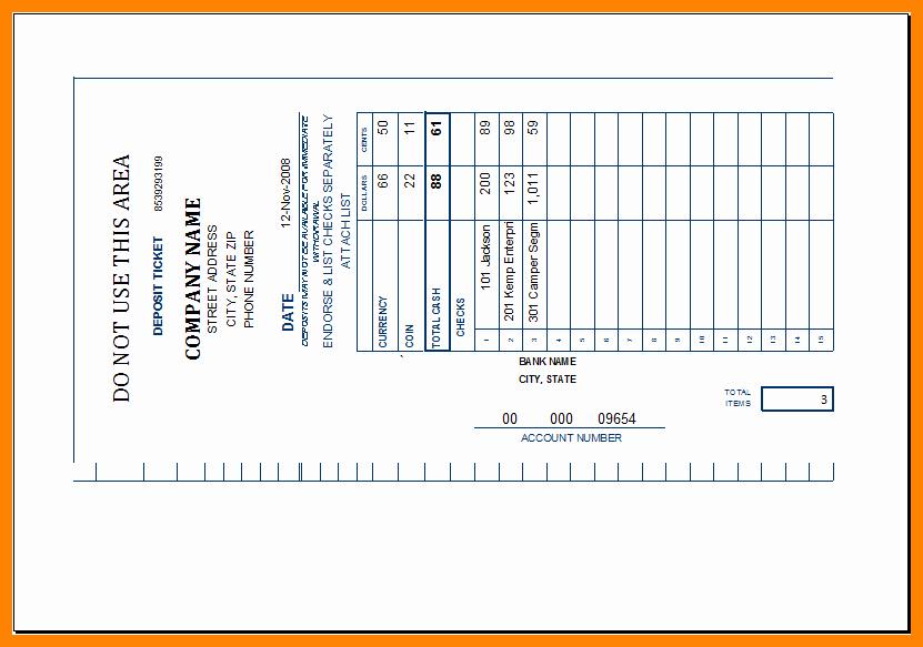 Deposit Slip Template Excel Elegant 8 Deposit Slip Template Excel Free