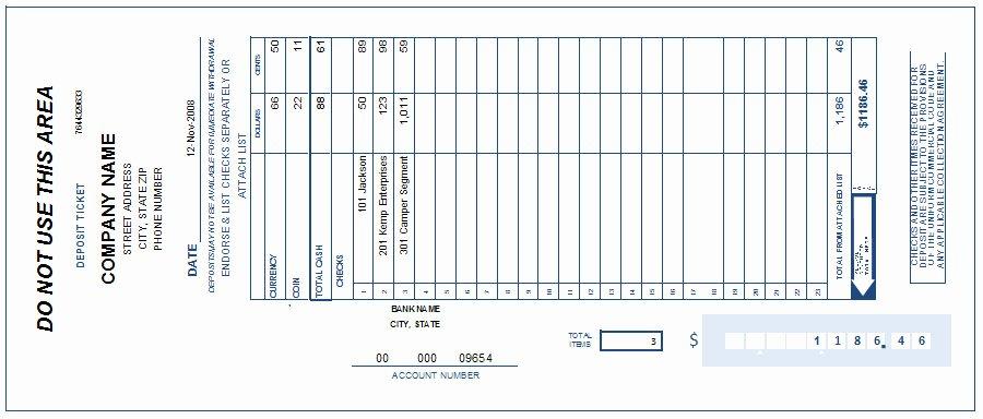 Deposit Slip Template Excel Elegant Free Printable Deposit Slip Template