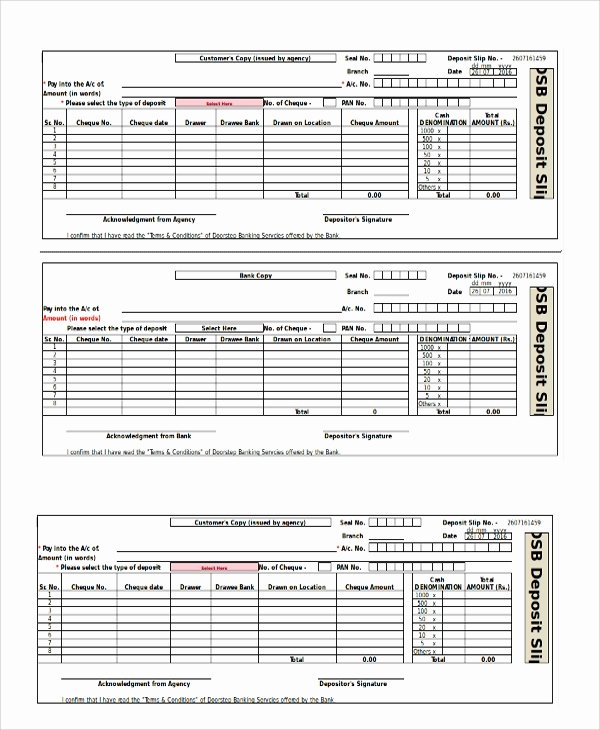 Deposit Slip Template Excel Inspirational Sample Deposit Slip Template 8 Free Documents Download In Pdf Word Excel