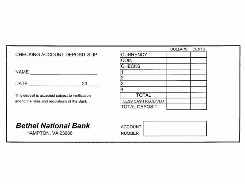 Deposit Slip Template Word Awesome Checking Account Lesson