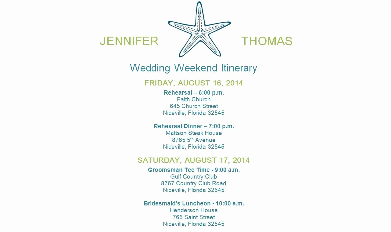 Destination Wedding Itinerary Template Best Of Free Wedding Itinerary Templates and Timelines