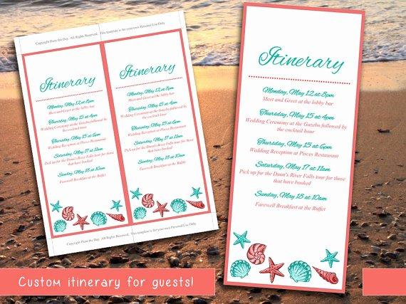 Destination Wedding Itinerary Template Elegant Beach Wedding Itinerary Template Wedding Planner Coral