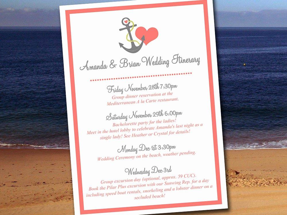 Destination Wedding Itinerary Template Elegant Destination Wedding Itinerary Template