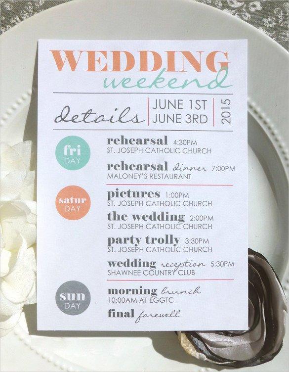 Destination Wedding Itinerary Template Fresh 52 Wedding Itinerary Templates Doc Pdf Psd