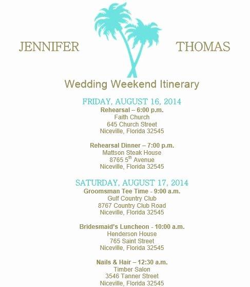 Destination Wedding Itinerary Template New Beach theme Wedding Itinerary Template Download On Bridetodo