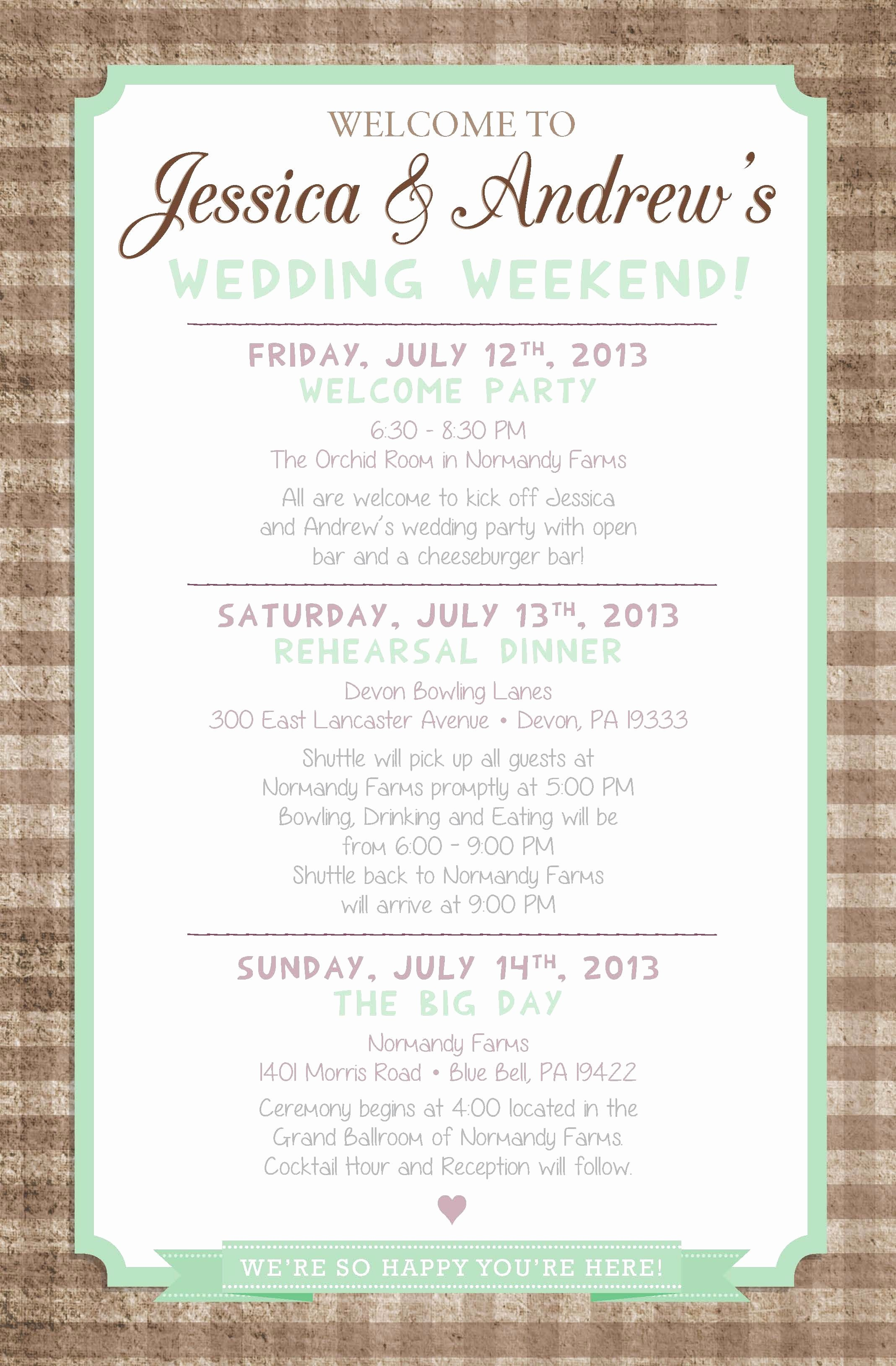 Destination Wedding Itinerary Template Unique Country Chic Wedding Weekend Itinerary by Paper & Lace Paperandlacecreations