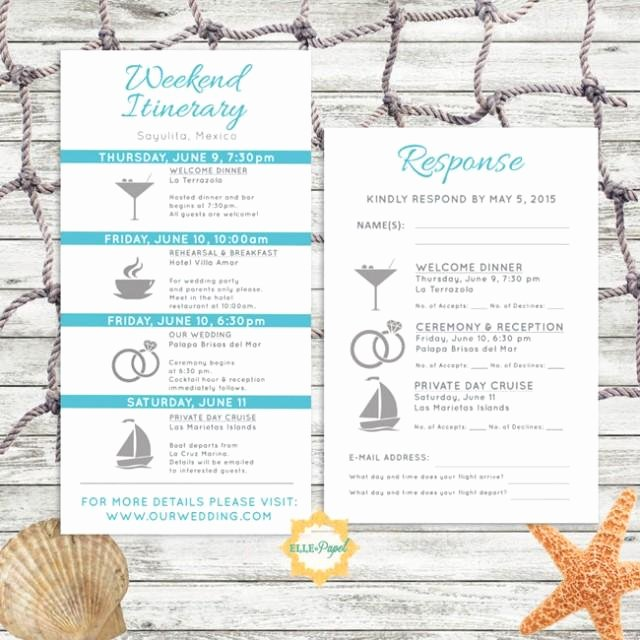 Destination Wedding Itinerary Template Unique Simple and Modern Wedding Itinerary Card with Rsvp Card Customize for A Beach Wedding Tropical