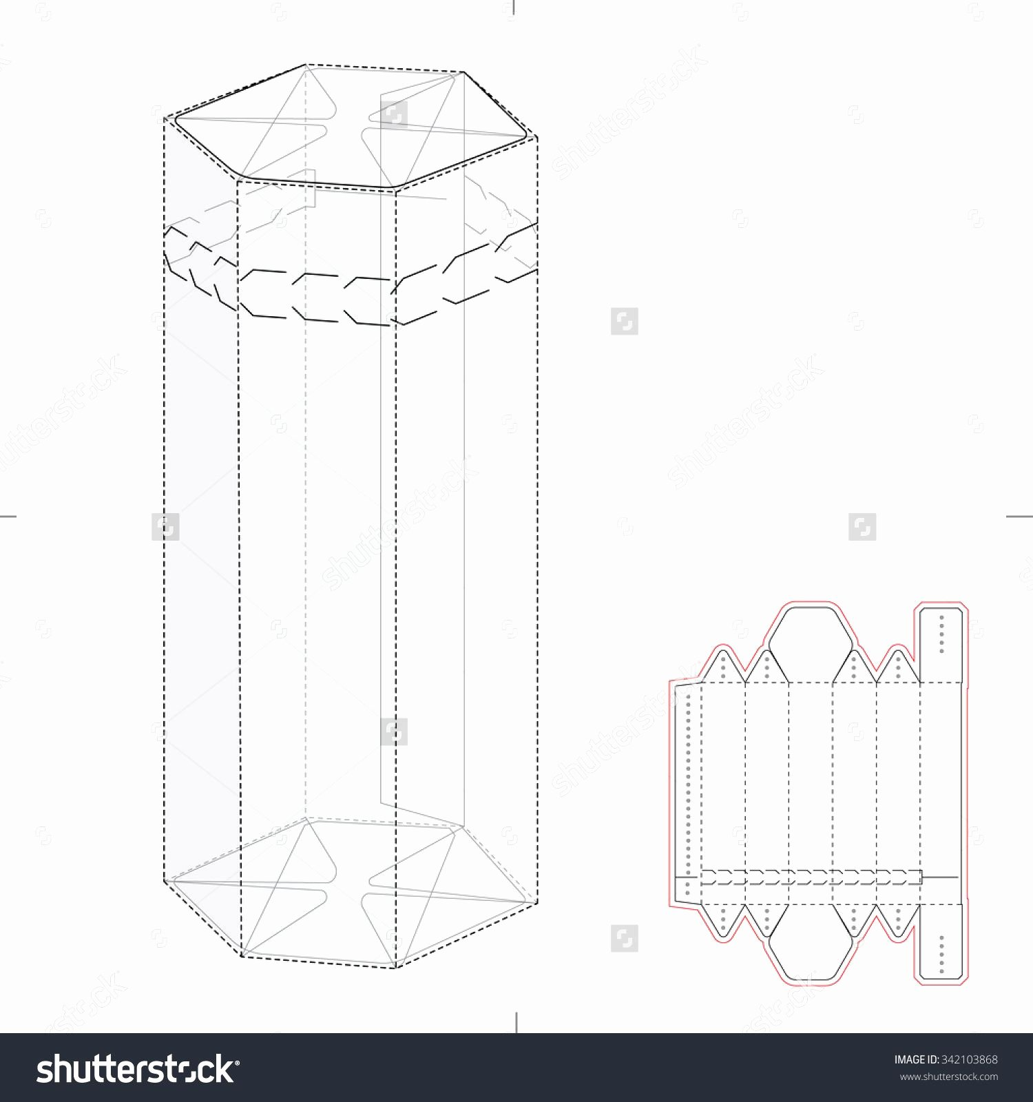 Die Cut Box Templates Awesome Hexagonal Box with Die Cut Template Stock Vector Illustration Shutterstock