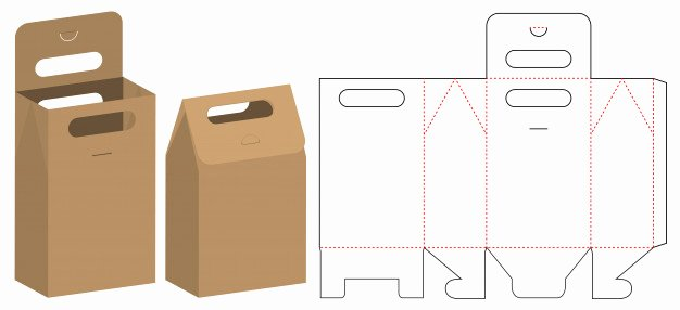 Die Cut Box Templates Elegant Paper Bag Packaging Cut Template Design Vector