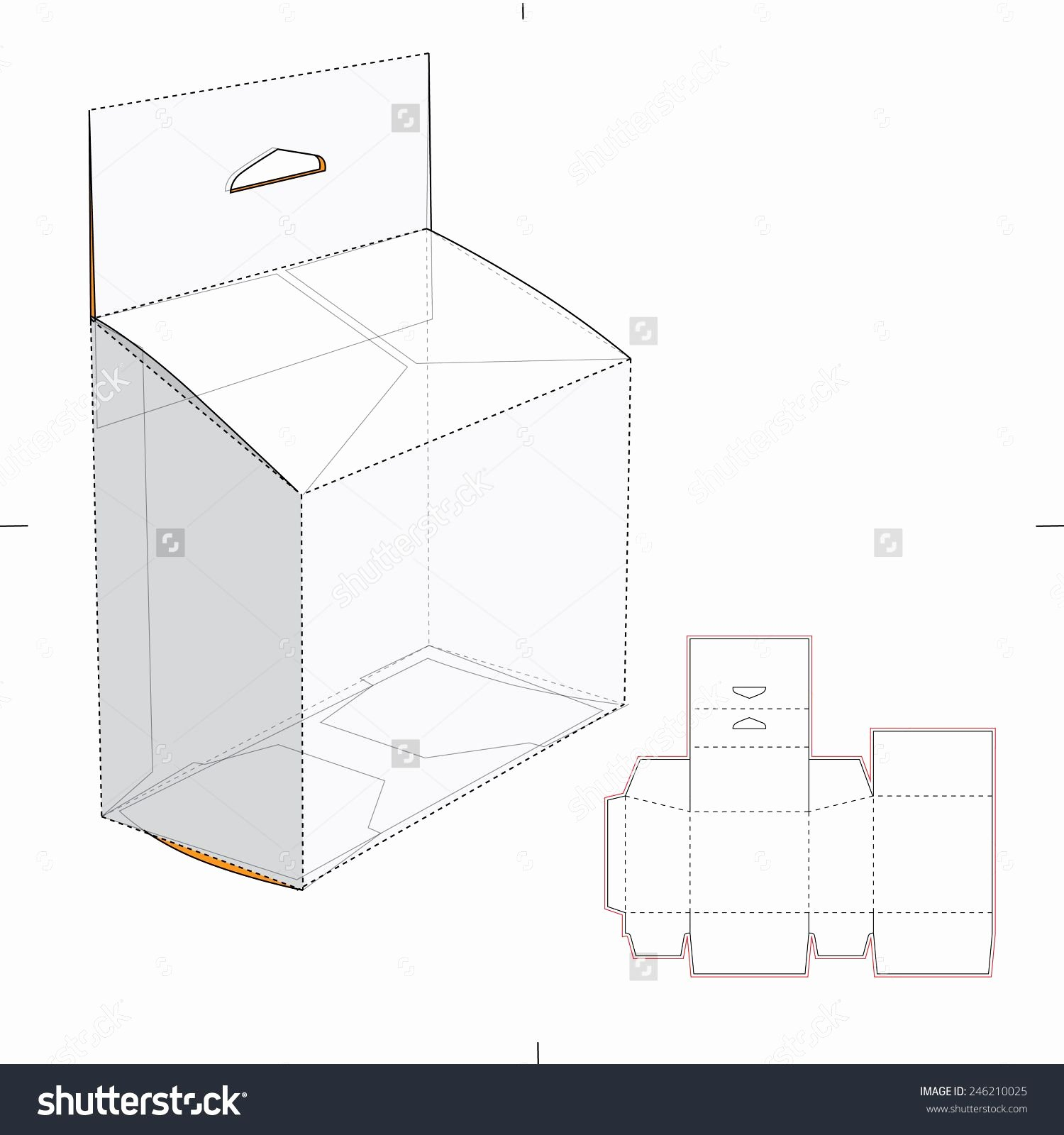 Die Cut Box Templates New Slanted Box with Hang Tag and Die Cut Template Stock Vector Illustration
