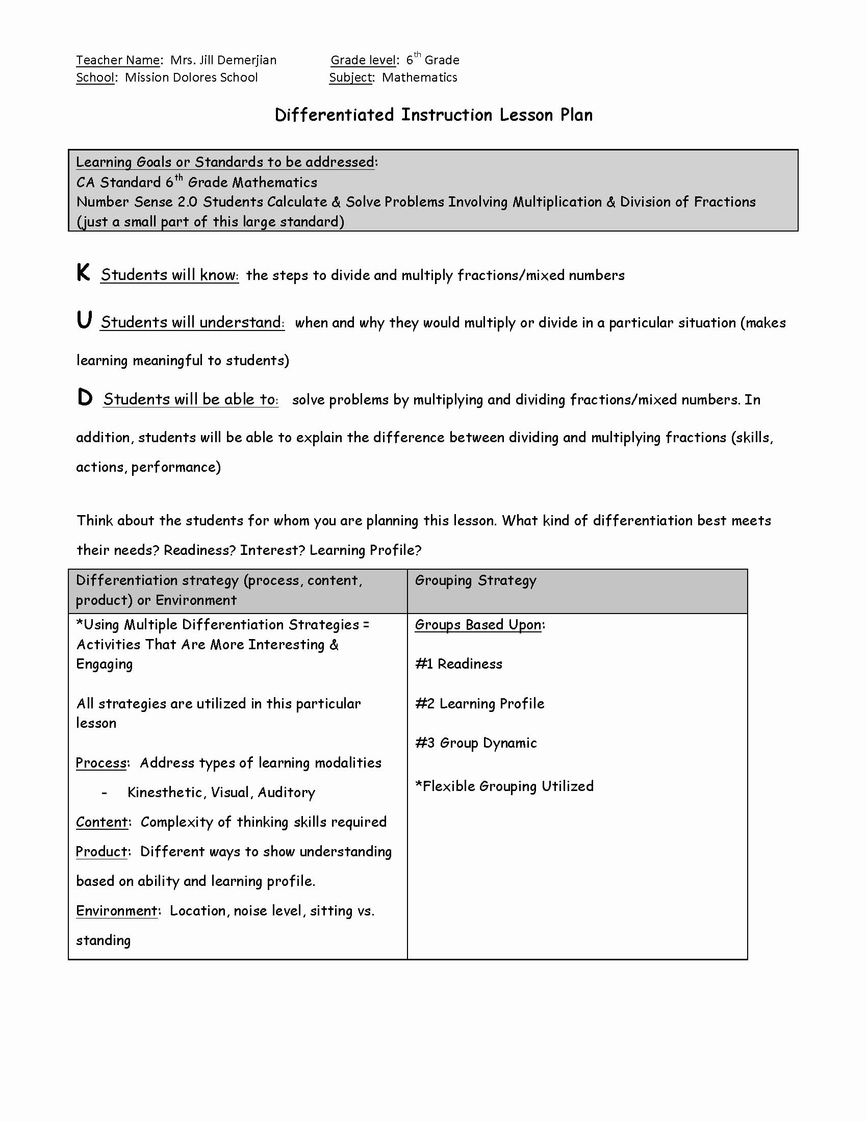 Differentiated Instruction Lesson Plan Template Inspirational Differentiated Instruction Lesson Template Pdf format