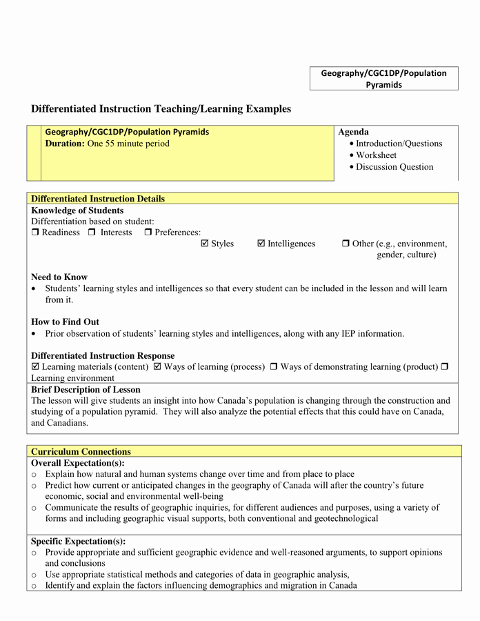 Differentiated Instruction Lesson Plan Template Lovely Lesson Plan Template In Word and Pdf formats