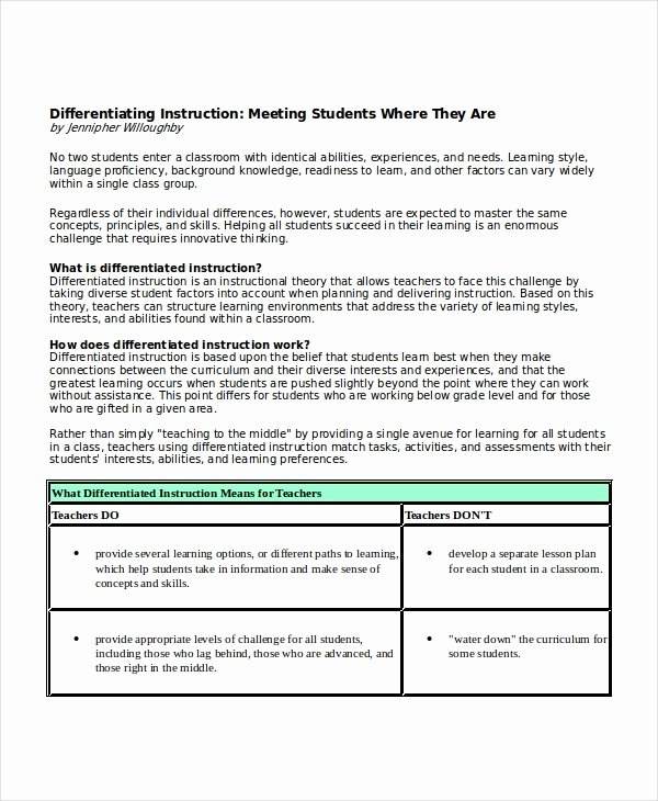 Differentiated Instruction Lesson Plan Template Unique Differentiated Instruction Template 7 Free Word Pdf Document Downloads