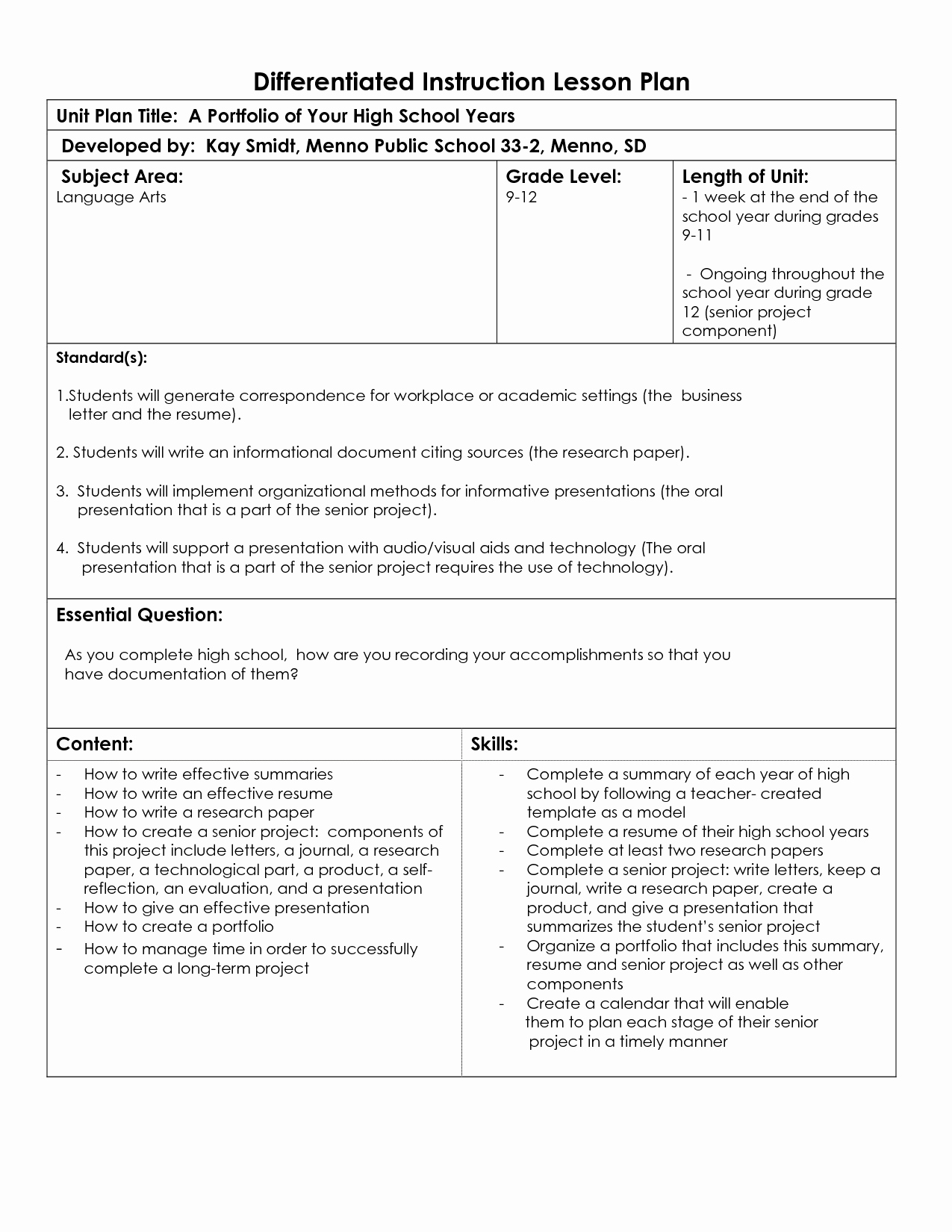 Differentiated Lesson Plan Template New Instruction Professional Development