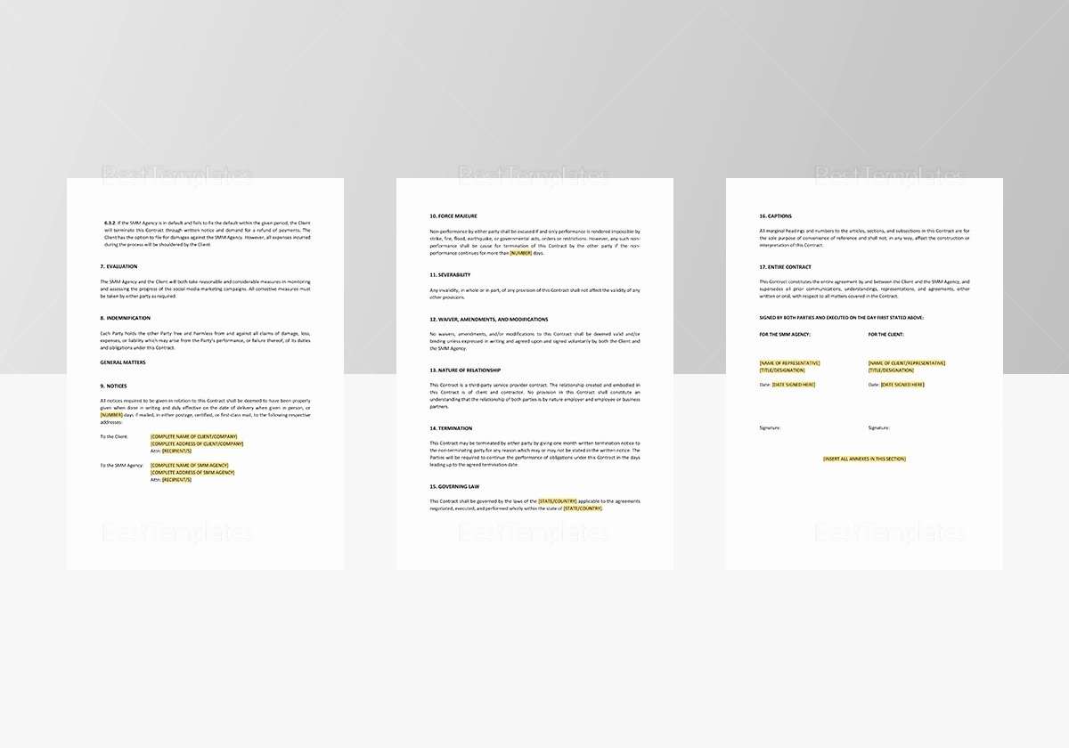 Digital Marketing Contract Template Best Of social Media Marketing Contract Template In Word Apple Pages