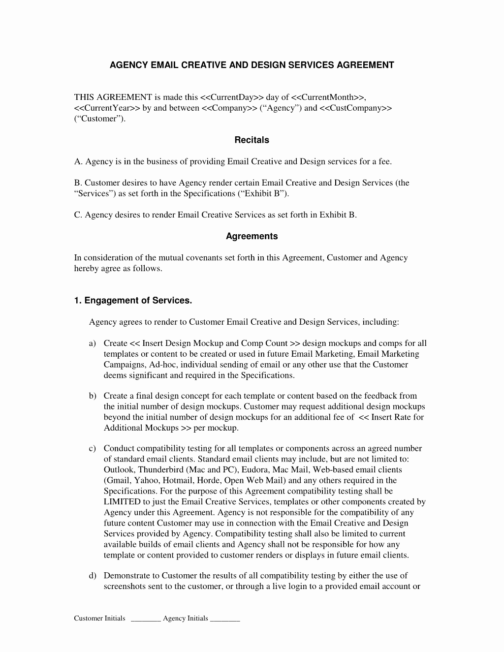 Digital Marketing Contract Template Inspirational Email Marketing Creative by Agency Agreement Advertising and Ad Agency Contract