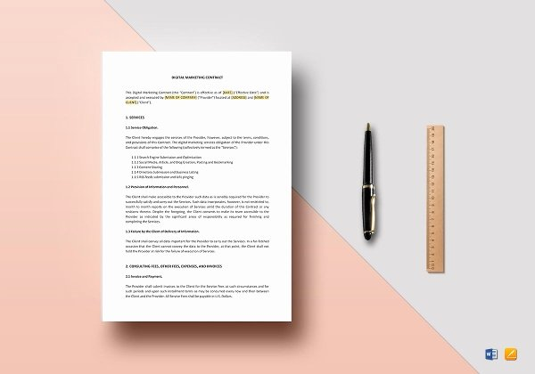 Digital Marketing Contract Template Luxury 21 Marketing Contract Templates – Word Google Docs