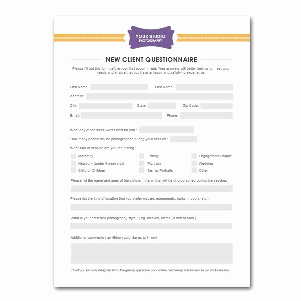 Digital Marketing Contract Template New New Client Questionnaire form