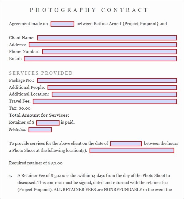 Digital Marketing Contract Template Unique Graphy Contract 7 Free Pdf Download Sample Templates