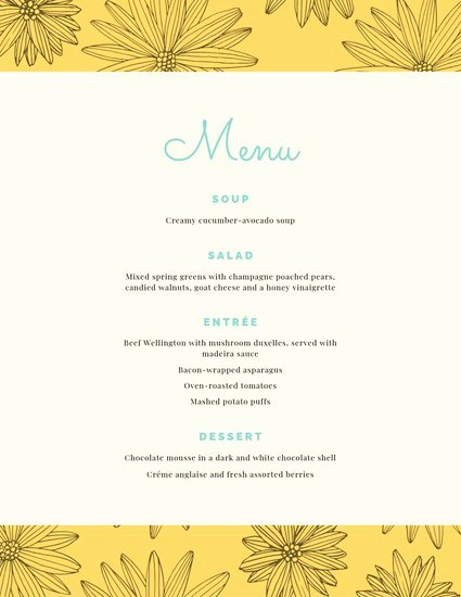 Dinner Party Menu Template Elegant Customize 197 Dinner Party Menu Templates Online Canva