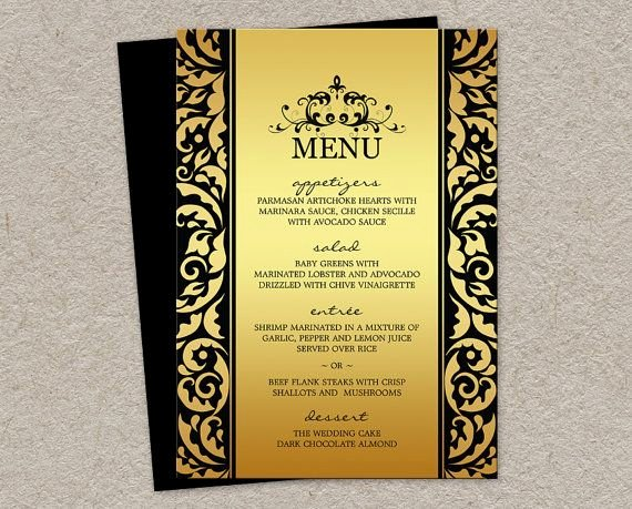 Dinner Party Menu Template Elegant Elegant Wedding Christmas Dinner Party Menu Cards In