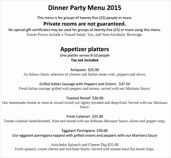 Dinner Party Menu Template Elegant Sample Party Menu Template 15 Download Documents In Psd