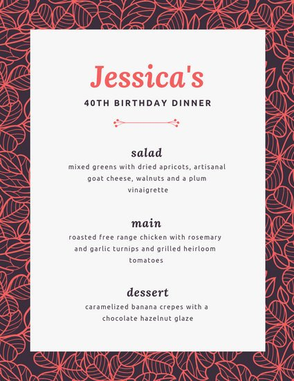 Dinner Party Menu Template Lovely Customize 197 Dinner Party Menu Templates Online Canva