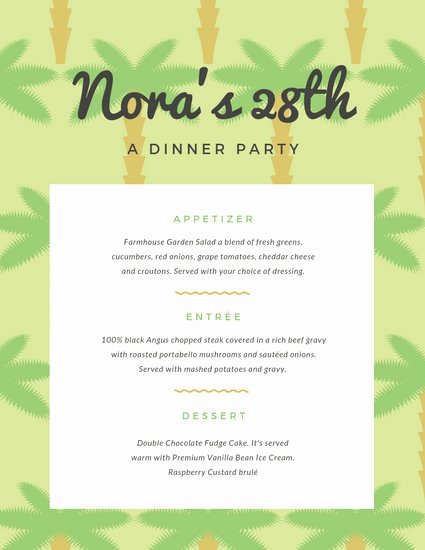 Dinner Party Menu Template Luxury Customize 197 Dinner Party Menu Templates Online Canva