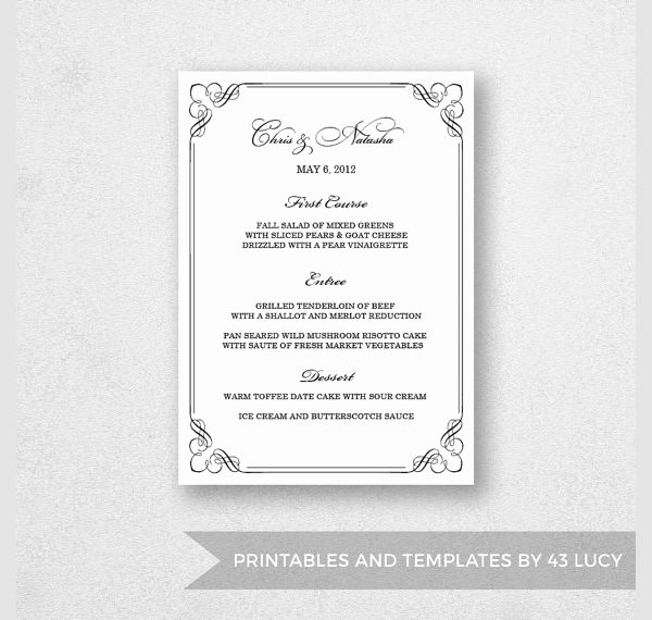 Dinner Party Menu Template Luxury Free 25 Dinner Party Menus In Illustrator