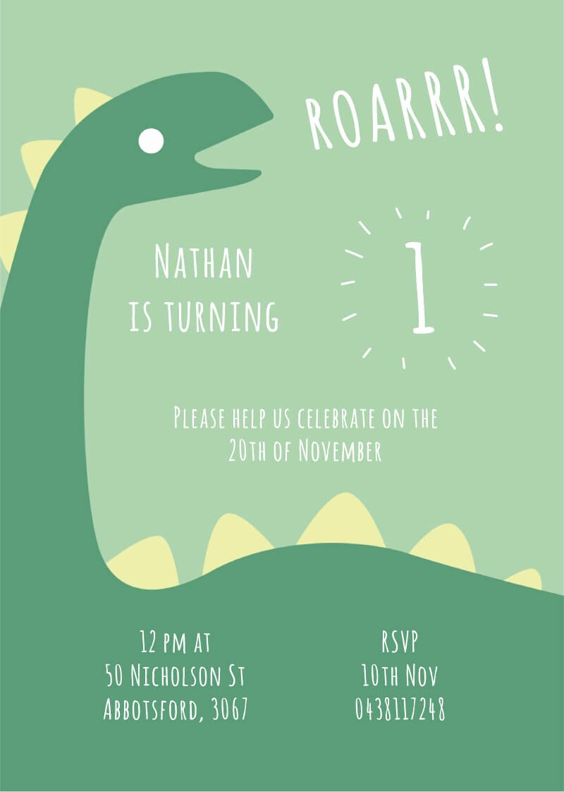 Dinosaur 1st Birthday Invitations Beautiful Dino First Dinosaur Bir Dp