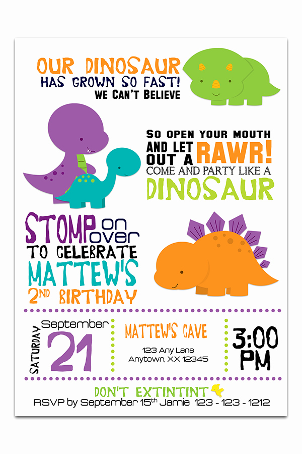 Dinosaur 1st Birthday Invitations Beautiful Dinosaurs Birthday Invitation – Invitetique