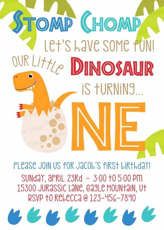 Dinosaur 1st Birthday Invitations Fresh Dinosaur First Birthday Invitation Dinosaur Invitation Baby Dinosaur Birthday