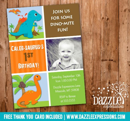 Dinosaur 1st Birthday Invitations Fresh Dinosaur Printable Birthday Invitation Thank You Card